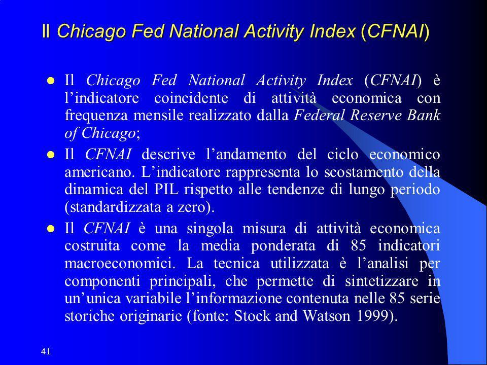 41 Il Chicago Fed National Activity Index (CFNAI) Il Chicago Fed National Activity Index (CFNAI) è l'indicatore coincidente di attività economica con