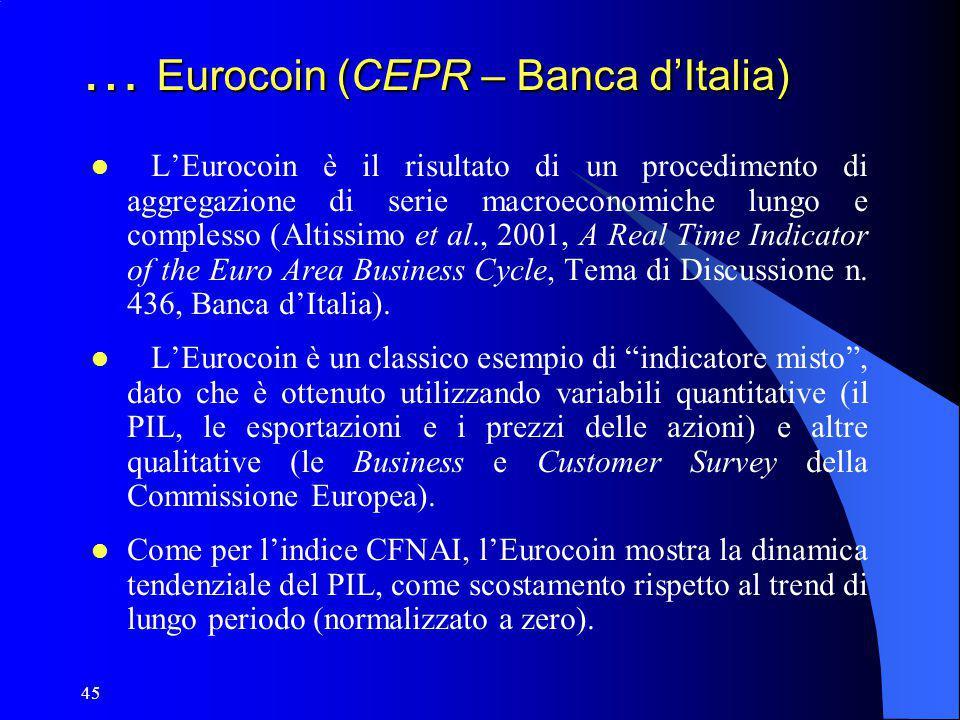 45 … Eurocoin (CEPR – Banca d'Italia) L'Eurocoin è il risultato di un procedimento di aggregazione di serie macroeconomiche lungo e complesso (Altissi