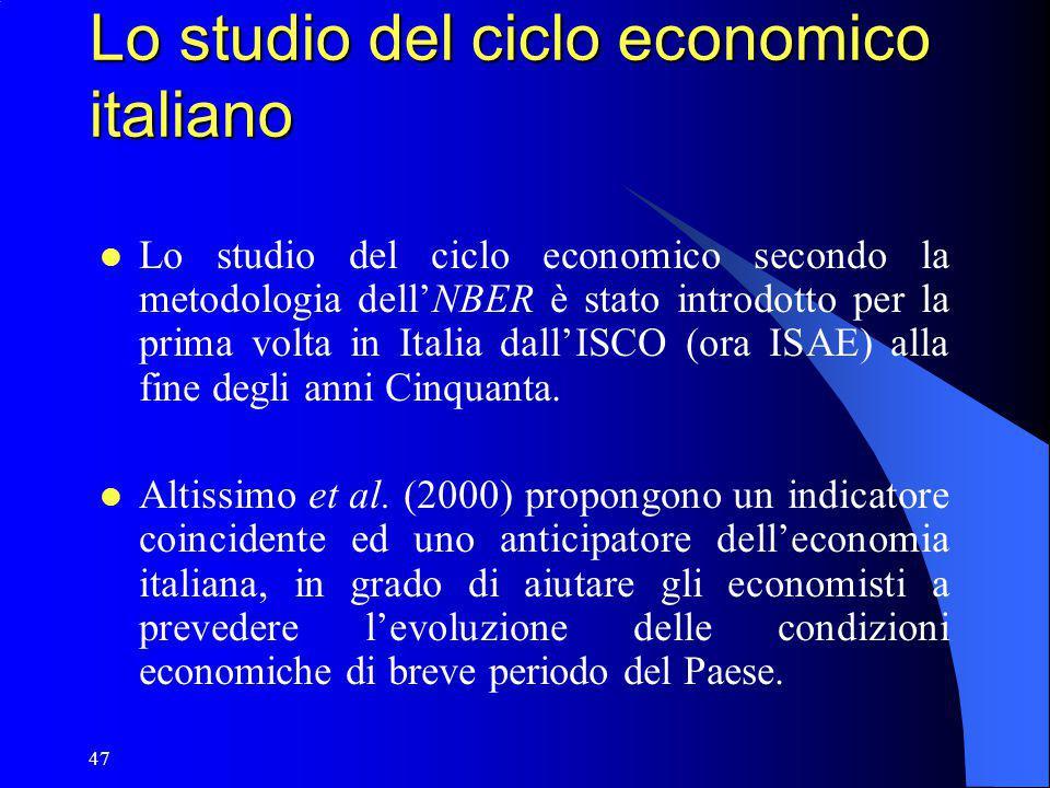 47 Lo studio del ciclo economico italiano Lo studio del ciclo economico secondo la metodologia dell'NBER è stato introdotto per la prima volta in Ital