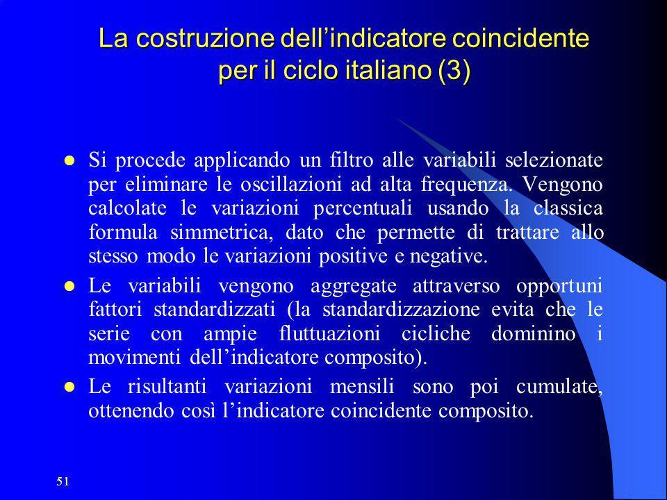 51 La costruzione dell'indicatore coincidente per il ciclo italiano (3) Si procede applicando un filtro alle variabili selezionate per eliminare le os