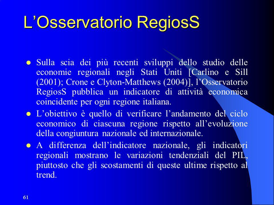 61 L'Osservatorio RegiosS Sulla scia dei più recenti sviluppi dello studio delle economie regionali negli Stati Uniti [Carlino e Sill (2001); Crone e