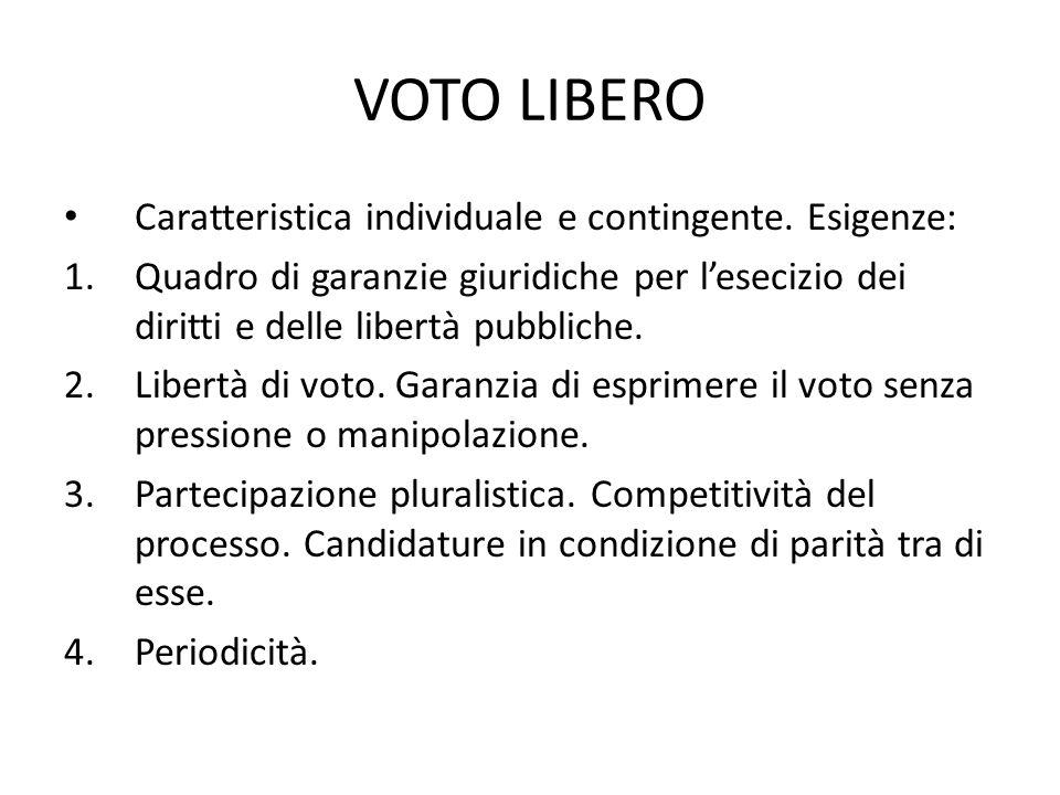 VOTO LIBERO Caratteristica individuale e contingente. Esigenze: 1.Quadro di garanzie giuridiche per l'esecizio dei diritti e delle libertà pubbliche.