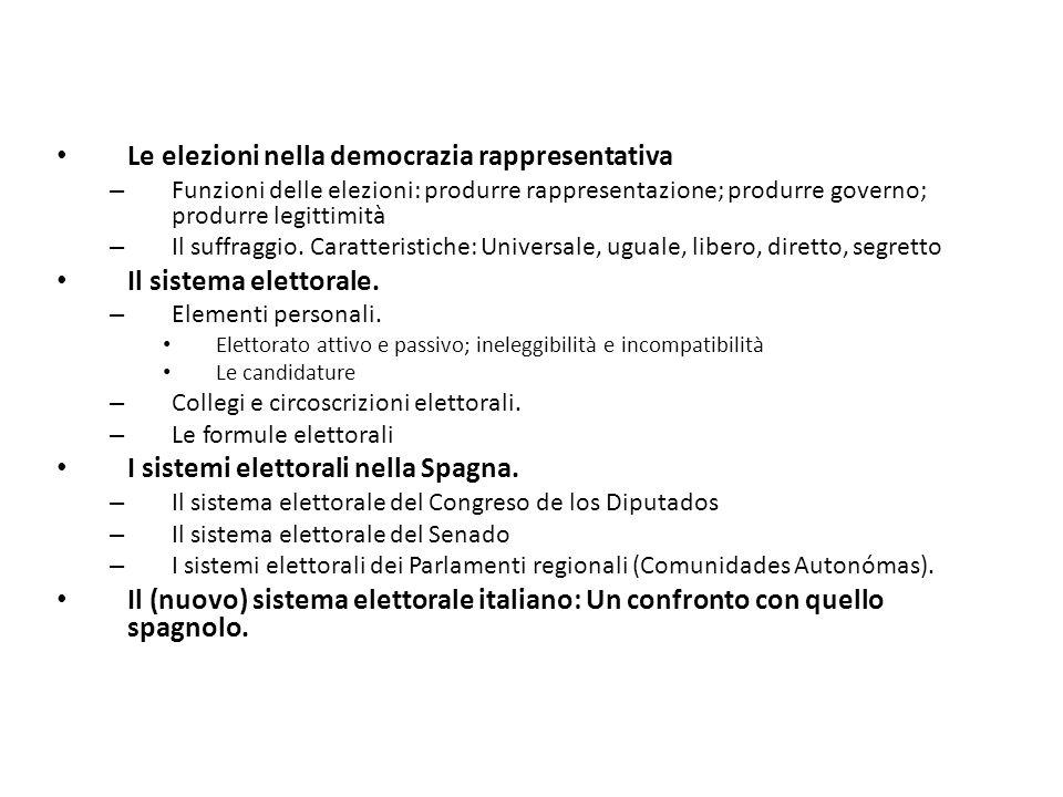 Le elezioni nella democrazia rappresentativa – Funzioni delle elezioni: produrre rappresentazione; produrre governo; produrre legittimità – Il suffrag