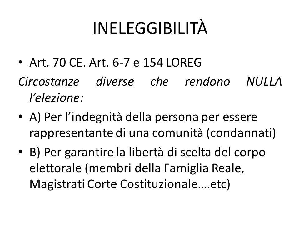 INELEGGIBILITÀ Art. 70 CE. Art. 6-7 e 154 LOREG Circostanze diverse che rendono NULLA l'elezione: A) Per l'indegnità della persona per essere rapprese