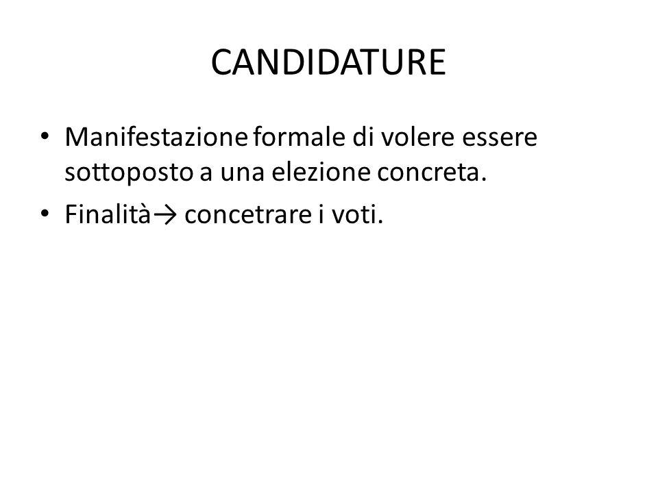 CANDIDATURE Manifestazione formale di volere essere sottoposto a una elezione concreta. Finalità→ concetrare i voti.
