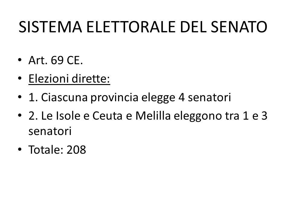 SISTEMA ELETTORALE DEL SENATO Art. 69 CE. Elezioni dirette: 1. Ciascuna provincia elegge 4 senatori 2. Le Isole e Ceuta e Melilla eleggono tra 1 e 3 s