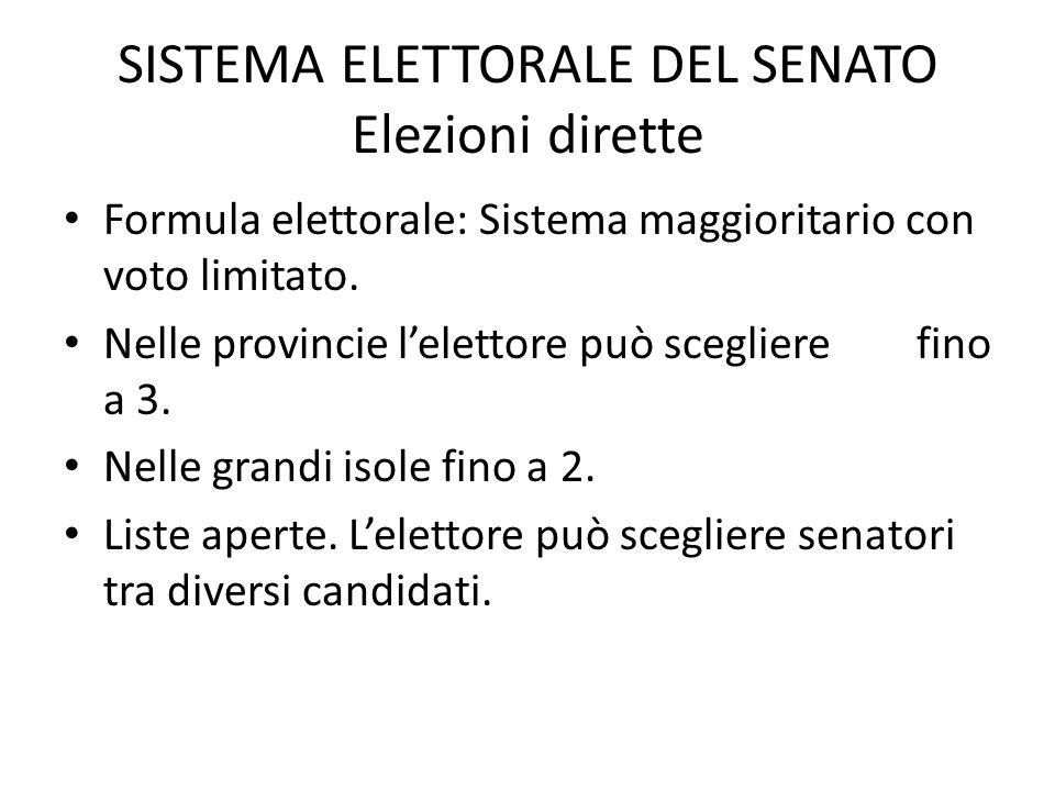 SISTEMA ELETTORALE DEL SENATO Elezioni dirette Formula elettorale: Sistema maggioritario con voto limitato. Nelle provincie l'elettore può scegliere f