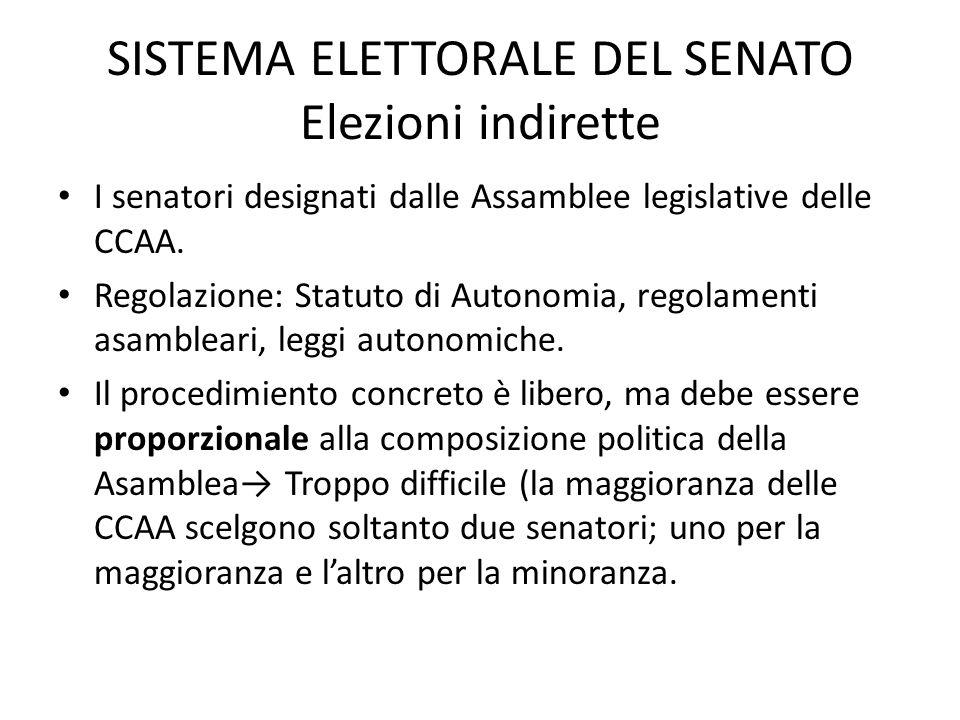 SISTEMA ELETTORALE DEL SENATO Elezioni indirette I senatori designati dalle Assamblee legislative delle CCAA. Regolazione: Statuto di Autonomia, regol