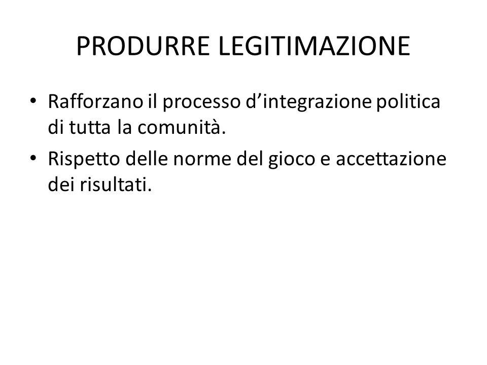 PRODURRE LEGITIMAZIONE Rafforzano il processo d'integrazione politica di tutta la comunità. Rispetto delle norme del gioco e accettazione dei risultat
