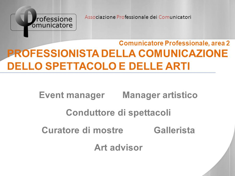Associazione Professionale dei Comunicatori Comunicatore Professionale, area 2 PROFESSIONISTA DELLA COMUNICAZIONE DELLO SPETTACOLO E DELLE ARTI Event