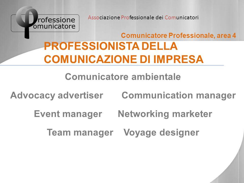 Associazione Professionale dei Comunicatori Comunicatore Professionale, area 5 PROFESSIONISTA DELLA COMUNICAZIONE PUBBLICA Responsabile della comunicazione Operatore per l'informazione nei servizi sociali Promotore territoriale