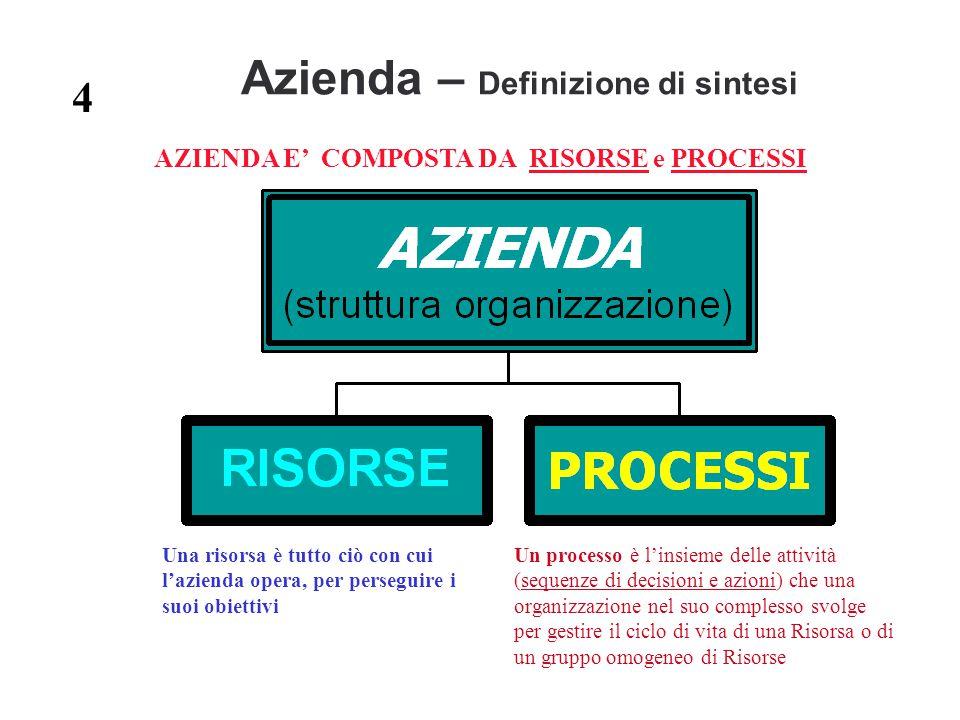 Azienda – Definizione di sintesi AZIENDA E' COMPOSTA DA RISORSE e PROCESSI Una risorsa è tutto ciò con cui l'azienda opera, per perseguire i suoi obie
