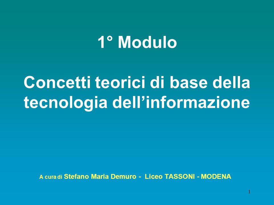 1 1° Modulo Concetti teorici di base della tecnologia dell'informazione A cura di Stefano Maria Demuro - Liceo TASSONI - MODENA