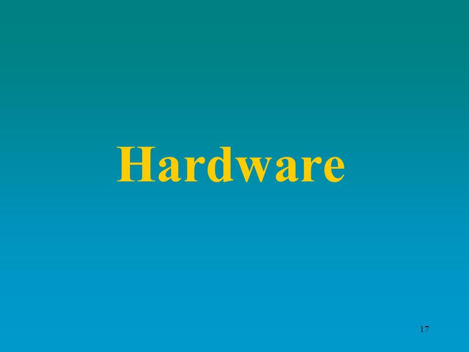 16 Componenti di base di un Computer Il computer, o elaboratore elettronico, è la macchina per la gestione automatica delle informazioni Componenti: –Hardware (la parte fisica del computer), con una memoria centrale una CPU le unità periferiche di Input e Ouput –Software (la parte intangibile, insieme di programmi)