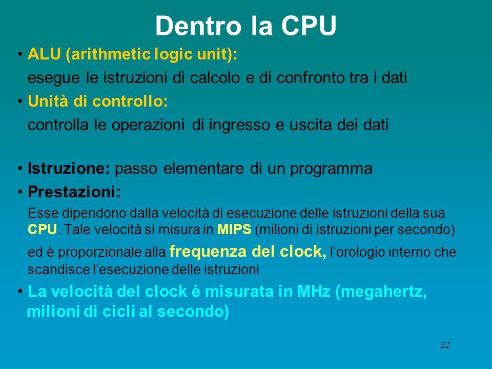 21 La CPU: il cuore del PC La prima e più importante componente della piastra madre è il microprocessore, ovvero la cosiddetta CPU (Central Processing Unit) o, in italiano U.C.E.