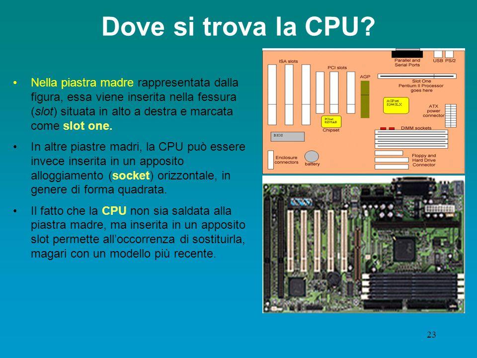 22 Dentro la CPU ALU (arithmetic logic unit): esegue le istruzioni di calcolo e di confronto tra i dati Unità di controllo: controlla le operazioni di ingresso e uscita dei dati Istruzione: passo elementare di un programma Prestazioni: Esse dipendono dalla velocità di esecuzione delle istruzioni della sua CPU.