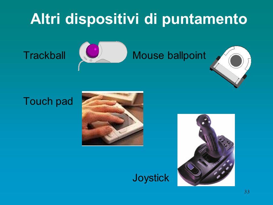 32 Il mouse Esistono vari tipi di mouse: con filo o senza filo, a due, a tre pulsanti, con la rotellina centrale o senza. le parti fondamentali restan