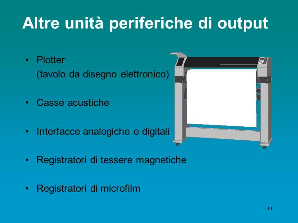 43 Dispositivi di output: stampante Caratteristiche qualificanti: tecnologia utilizzata funzioni grafiche colore risoluzione grafica velocità di stampa funzioni ausiliarie –sistema di alimentazione –sistema di trascinamento