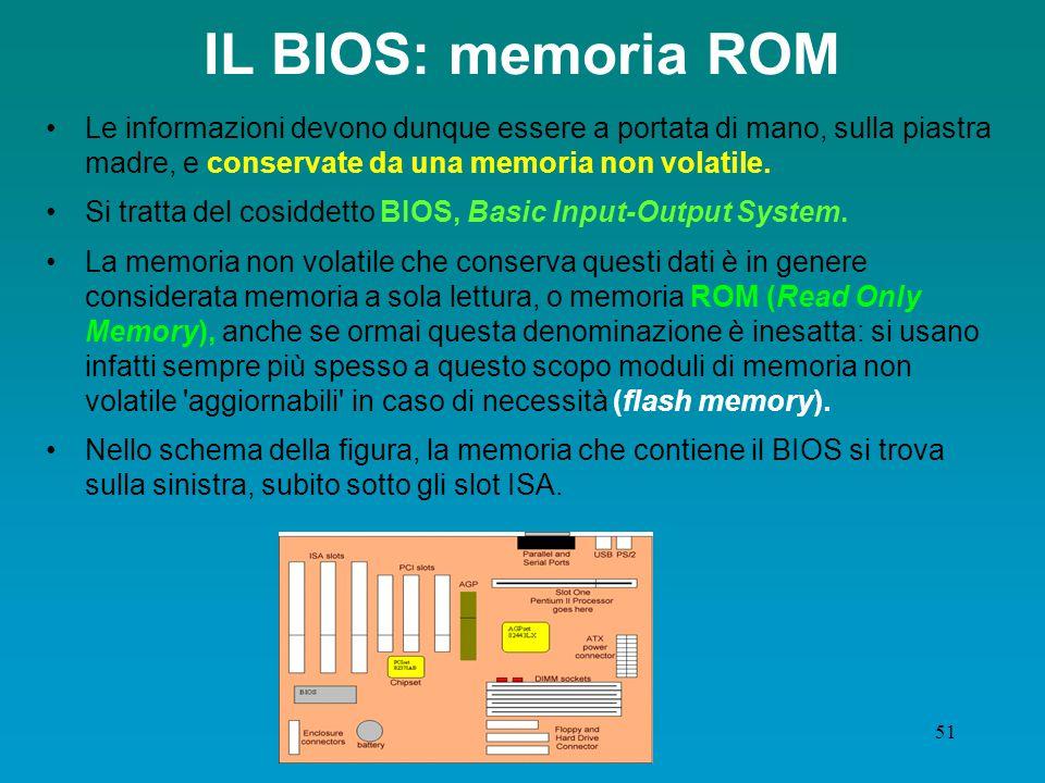 50 Memoria interna: ROM E' necessario però che sulla piastra madre sia presente, a disposizione della CPU, anche una parte di memoria non volatile, contenente una serie di informazioni fondamentali per il funzionamento del computer.