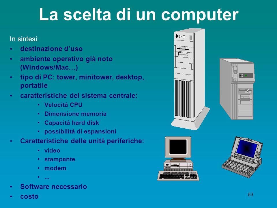 62 Le prestazioni del computer La velocità dei PC dipende da una serie di fattori: velocità della CPU dimensioni della memoria centrale velocità delle memorie di massa eventuali dispositivi per accelerare certi tipi di operazioni ( accel.