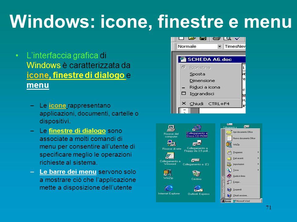 70 Software di sistema: il seguito Evoluzione dei sistemi operativi: dalle interfacce a caratteri alle cosiddette interfacce ad icone o grafiche (GUI, Graphical User Interface).