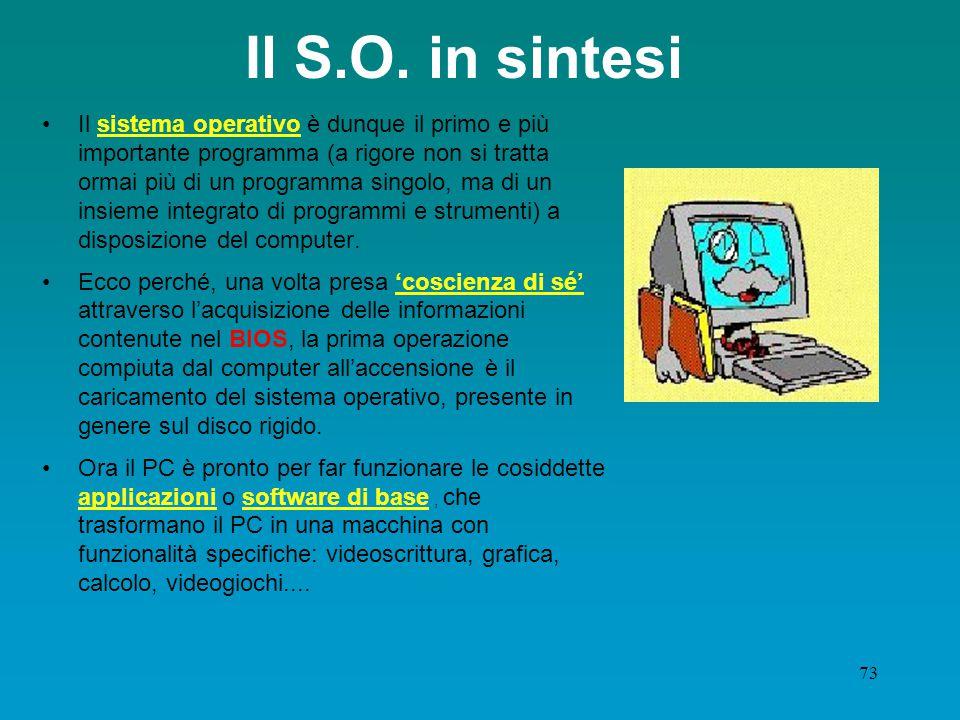 72 I vantaggi dell'interfaccia G.U.I Con l'uso della GUI l'utente non utilizza più comandi del tipo: del documen1.txt (cancella il file di nome docume