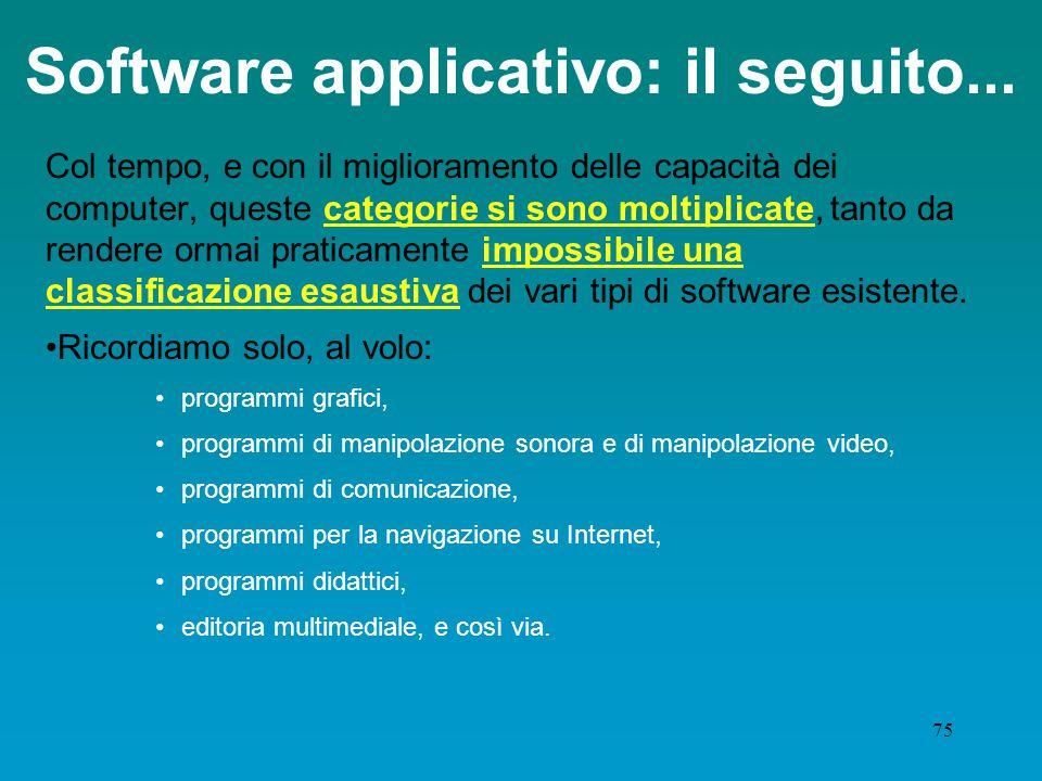 74 Software applicativo: gli inizi... All'inizio, i più diffusi software di base /programmi per computer ricadevano in poche categorie abbastanza dete
