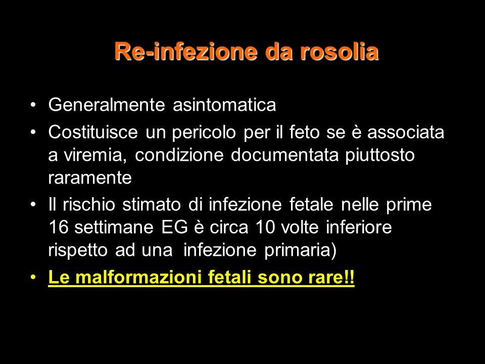 Re-infezione da rosolia Generalmente asintomatica Costituisce un pericolo per il feto se è associata a viremia, condizione documentata piuttosto raram
