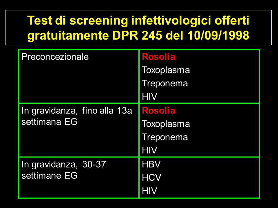 Test di screening infettivologici offerti gratuitamente DPR 245 del 10/09/1998 PreconcezionaleRosolia Toxoplasma Treponema HIV In gravidanza, fino all