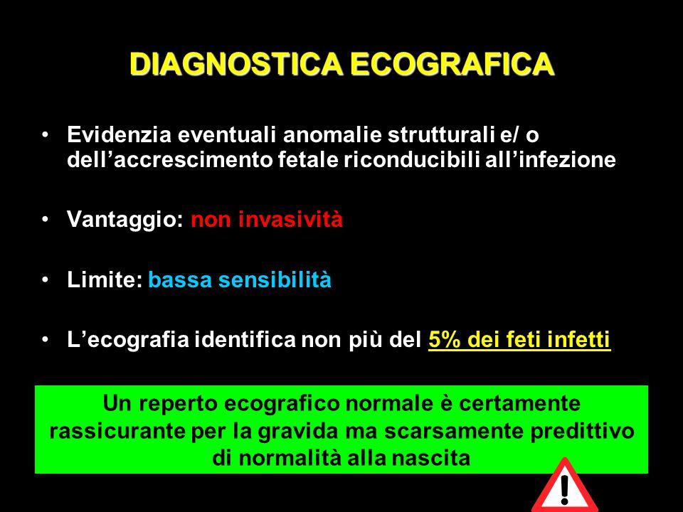 DIAGNOSTICA ECOGRAFICA Evidenzia eventuali anomalie strutturali e/ o dell'accrescimento fetale riconducibili all'infezione Vantaggio: non invasività L
