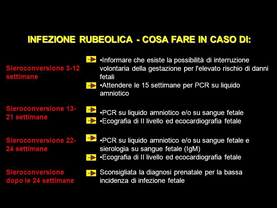 INFEZIONE RUBEOLICA - COSA FARE IN CASO DI: Sieroconversione 3-12 settimane Informare che esiste la possibilità di interruzione volontaria della gesta