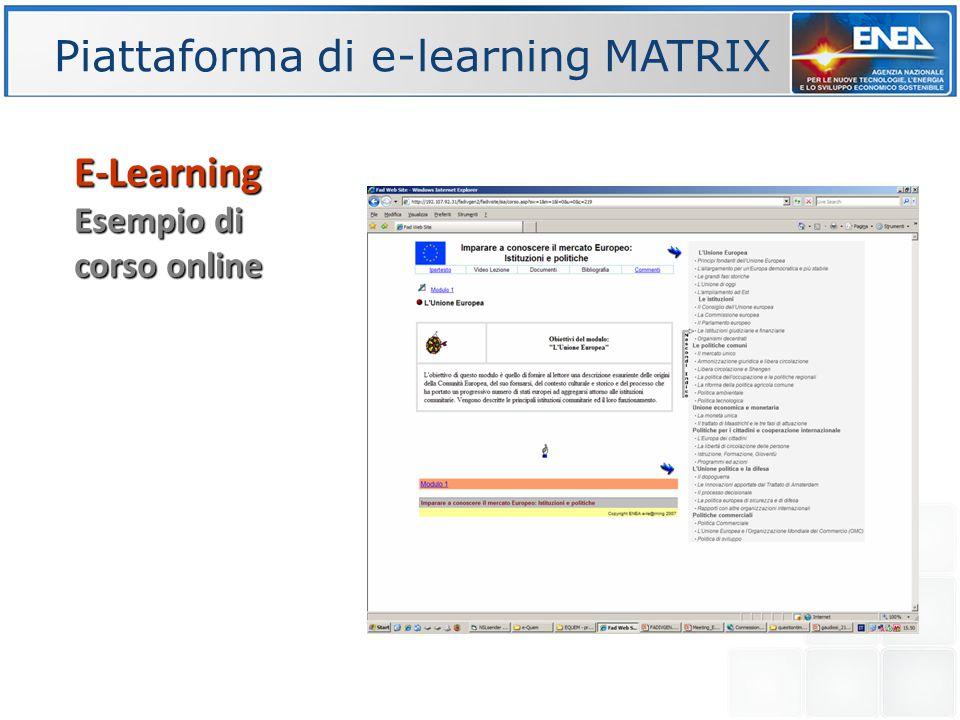 Piattaforma di e-learning MATRIX E-Learning Esempio di corso online