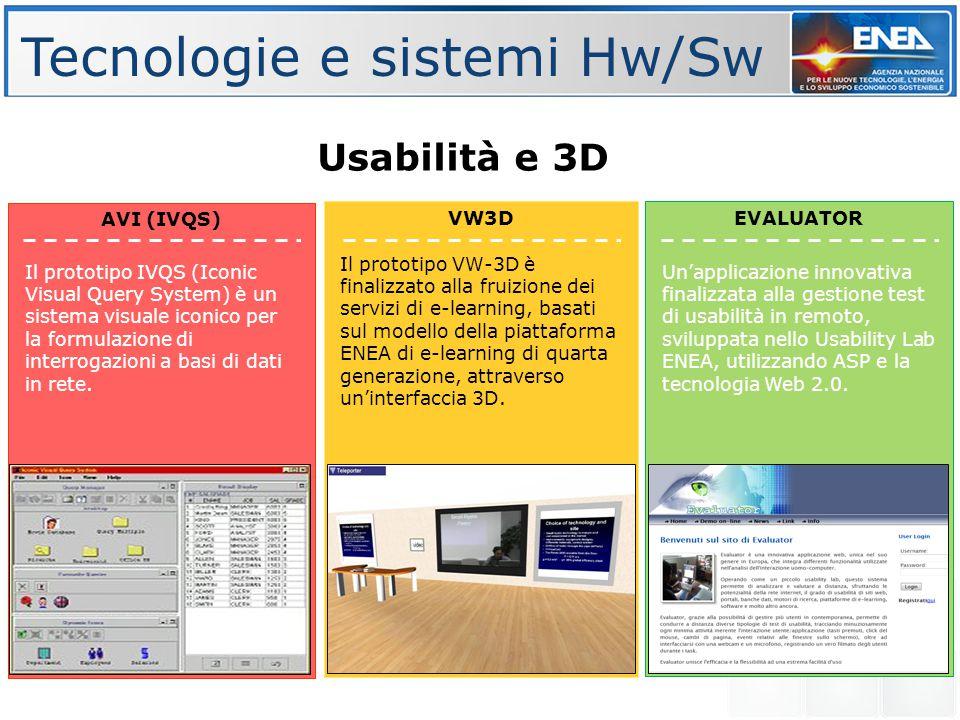 Tecnologie e sistemi Hw/Sw EVALUATOR Usabilità e 3D VW3D AVI (IVQS) Il prototipo VW-3D è finalizzato alla fruizione dei servizi di e-learning, basati sul modello della piattaforma ENEA di e-learning di quarta generazione, attraverso un'interfaccia 3D.