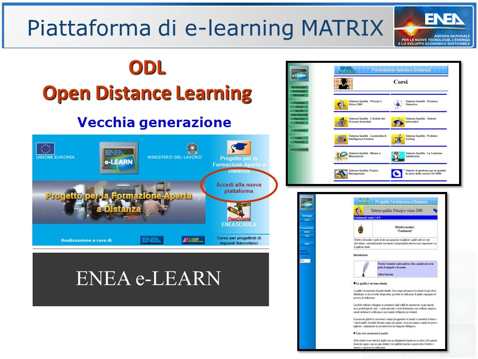 Piattaforma di e-learning MATRIX ODL Open Distance Learning Vecchia generazione