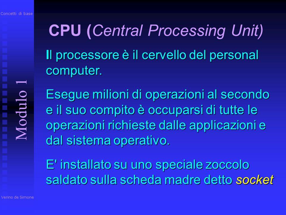 Contiene la CPU (Central Process Unit o Unità centrale di elaborazione UCE, che è il nucleo del computer) e i circuiti di controllo. Si tratta del com