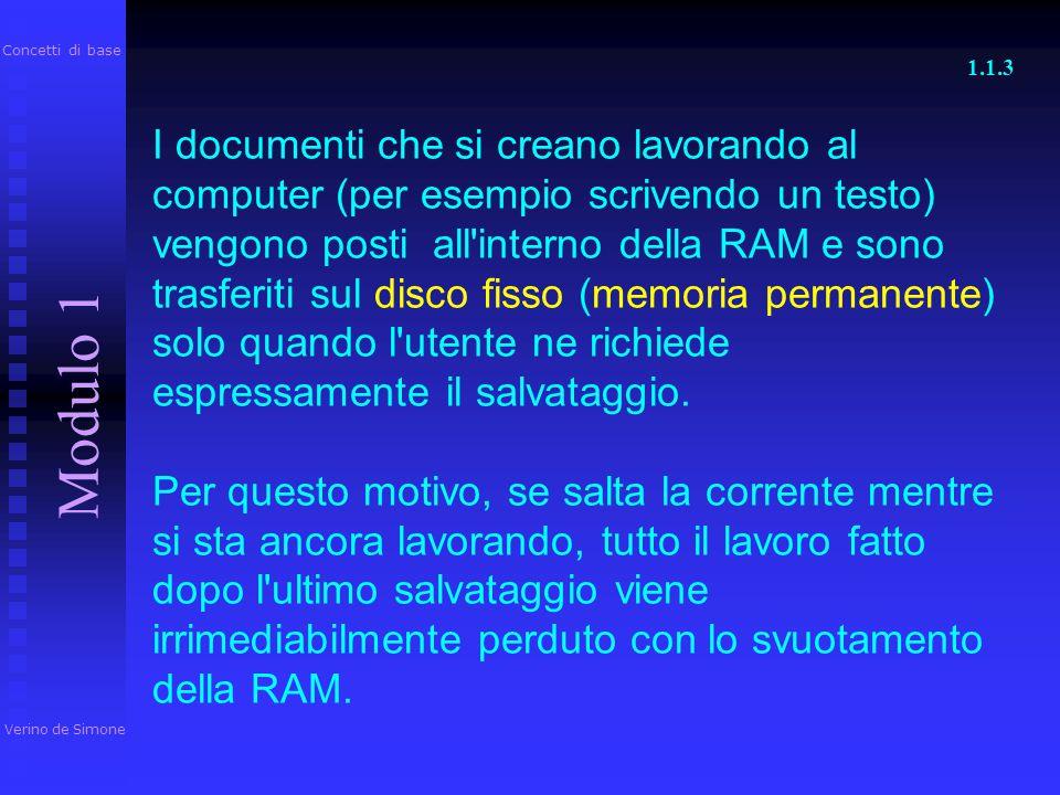 (Random Access Memory): è la memoria dove vengono conservati i dati in corso di elaborazione (i documenti aperti) e le istruzioni del programma in ese