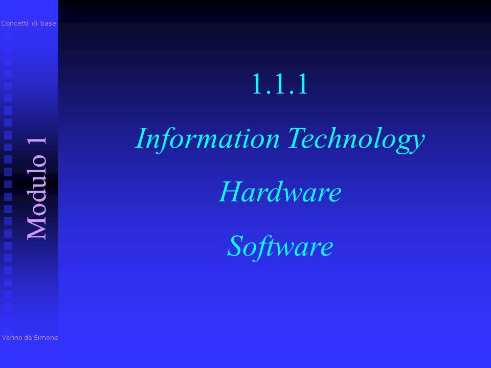 Per iniziare Modulo 1 Verino de Simone Modulo 1 Concetti di base Componenti di base di un personal computer Hardware, Software e Information Technolog