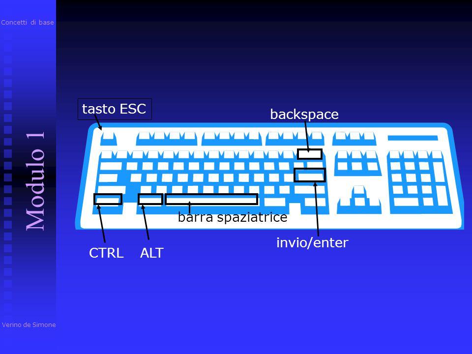 tasto ESC tasti funzione tastierino numerico frecce spie luminose canc/del La tastiera Verino de Simone Modulo 1 Concetti di base u immissione dati u