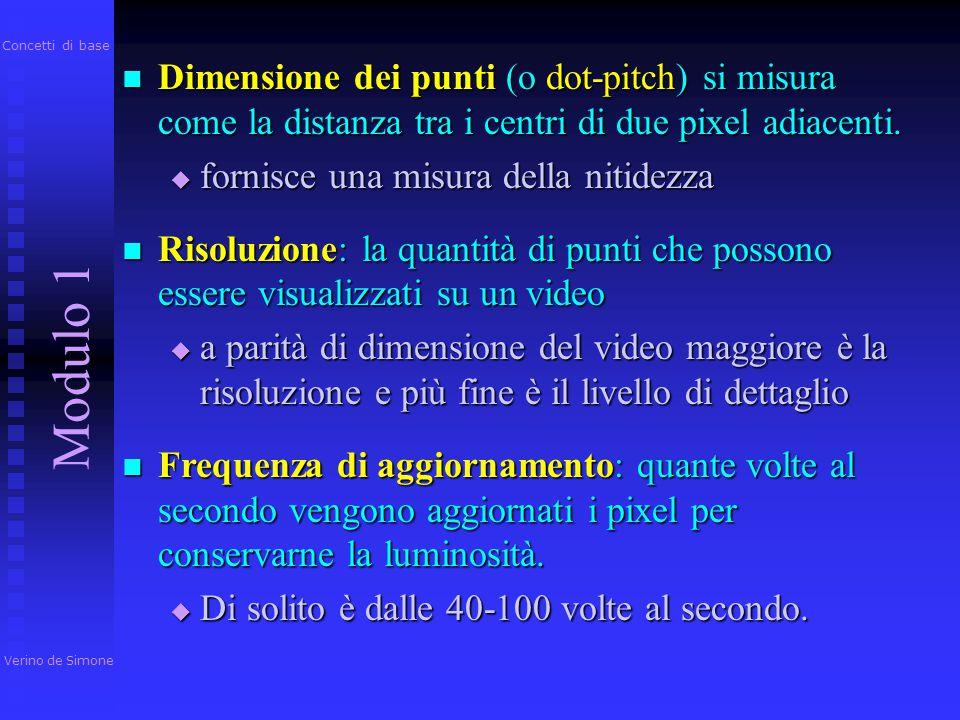Un pixel è la più piccola unità dello schermo che può essere controllata e alla quale possa essere assegnato un determinato colore Un pixel è la più p