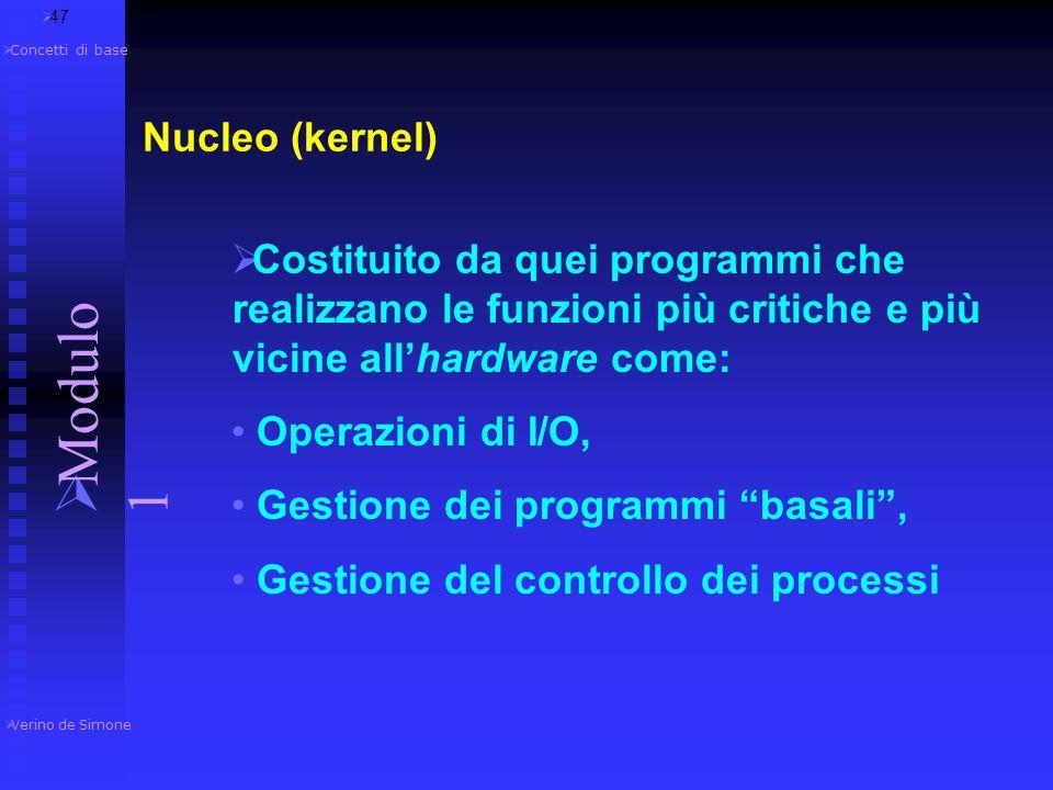  Un SO è generalmente composto dai seguenti elementi : Nucleo (kernel) File System Gestione Memoria Interfaccia utente Programmi di sistema  46  Ve