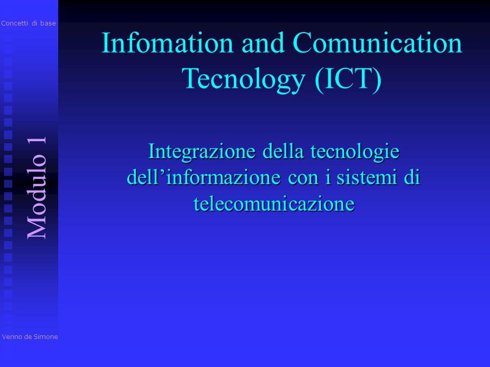 Infomation and Comunication Tecnology (ICT) Integrazione della tecnologie dell'informazione con i sistemi di telecomunicazione Verino de Simone Modulo 1 Concetti di base