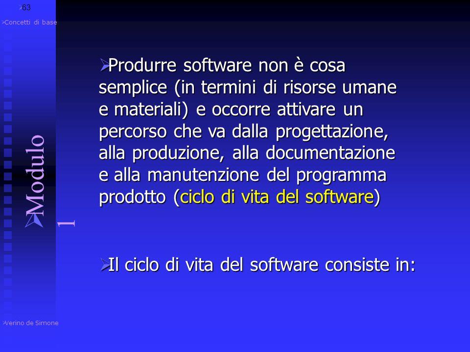  Verino de Simone  Modulo 1  Concetti di base 1.4.4 Sviluppo del software  62