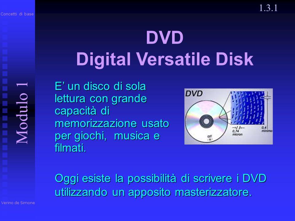 CD-RW 1.3.1 Ha caratteristiche simili al CD-R ma può essere cancellato e registrato fino a 1000 volte con il masterizzatore. Verino de Simone Modulo 1