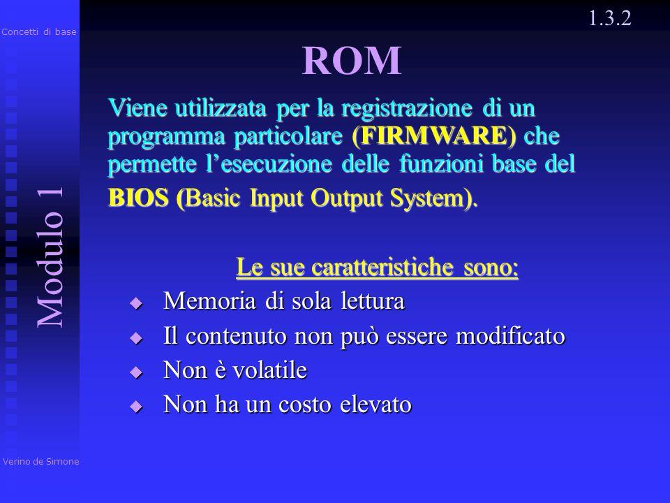 1.3.2 Verino de Simone Modulo 1 Concetti di base Usata per la registrazione dei dati e delle istruzioni del programma al momento della sua esecuzione.