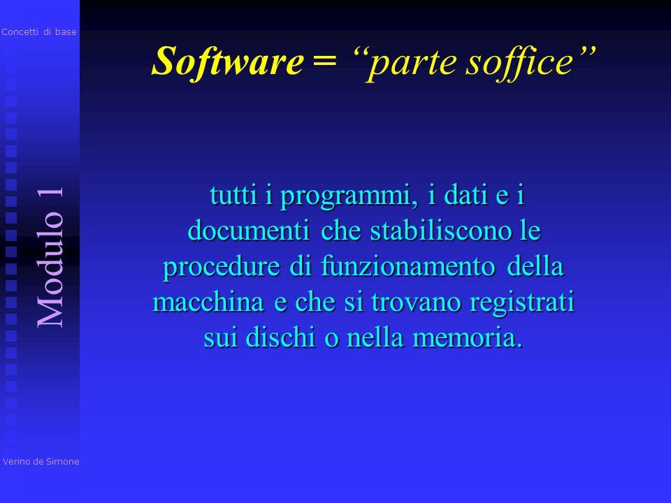Software = parte soffice tutti i programmi, i dati e i documenti che stabiliscono le procedure di funzionamento della macchina e che si trovano registrati sui dischi o nella memoria.