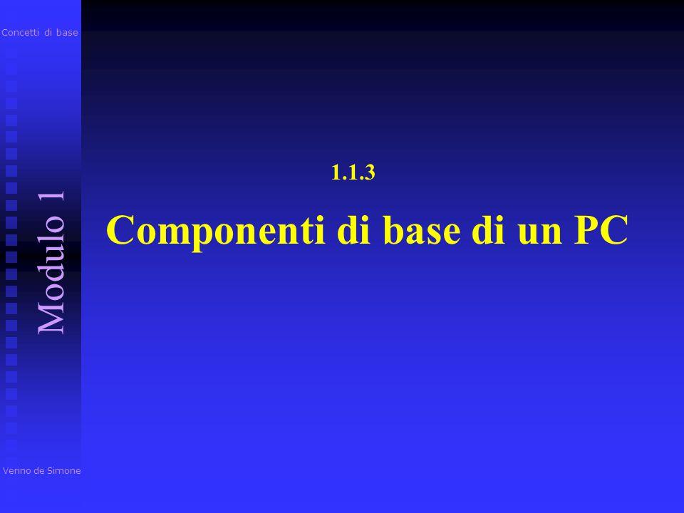 I dispositivi di output più comuni sono: Monitor, Monitor, Stampante StampantePlotter Casse audio Masterizzatore Verino de Simone Modulo 1 Concetti di base PC