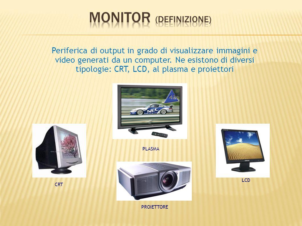 Periferica di output in grado di visualizzare immagini e video generati da un computer. Ne esistono di diversi tipologie: CRT, LCD, al plasma e proiet