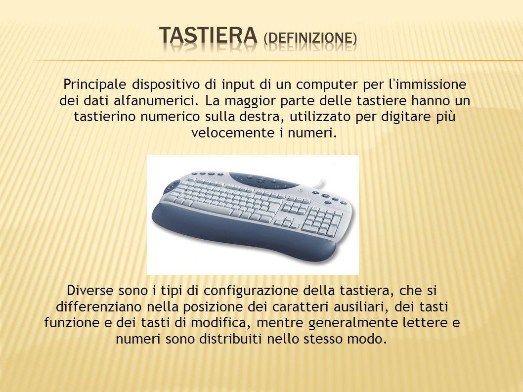 Principale dispositivo di input di un computer per l'immissione dei dati alfanumerici. La maggior parte delle tastiere hanno un tastierino numerico su