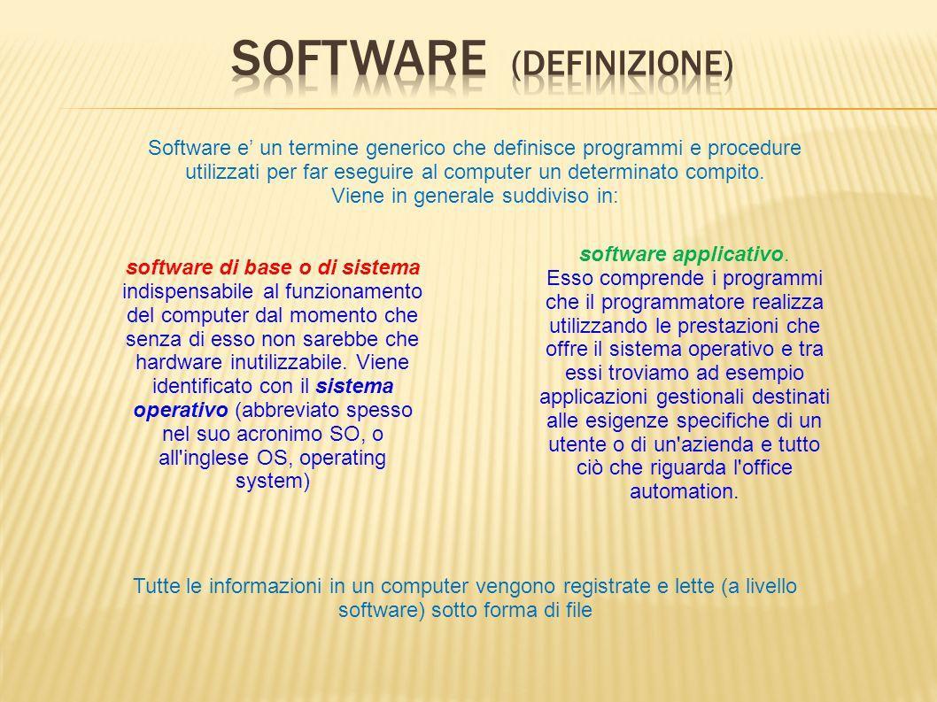 software applicativo. Esso comprende i programmi che il programmatore realizza utilizzando le prestazioni che offre il sistema operativo e tra essi tr