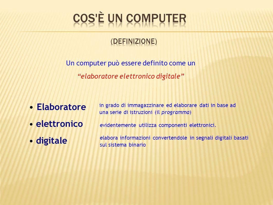 """Un computer può essere definito come un """"elaboratore elettronico digitale"""" Elaboratore elettronico digitale in grado di immagazzinare ed elaborare dat"""